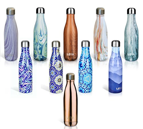 MIRA Double Walled Stainless Steel Cola Shape Water Bottle, 17-Ounce - Swirl