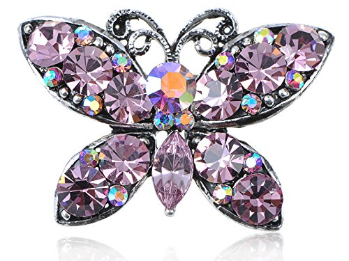 (Alilang Rose Pink Synthetic Amethyst Crystal Rhinestone Butterfly Easter Spring Pin Brooch)