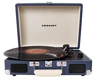Crosley Cruiser - Tocadiscos de vinilo portátil (3 velocidades, altavoces estéreo integrados, con enchufe UK) diseño maletín, azul