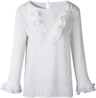 CYL Abito Donna alla Moda, Morbido E Confortevole, Bianco Maniche in Foglia di Loto, Scollo Rotondo Pulsante, Camicetta Slim