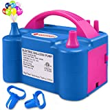 ID IDAODAN Electric Air Balloon Pump Portable Dual Nozzle 110V 600W Electric Balloon Blower Pump/Electric Balloon Inflator for Party Decoration (Blue)