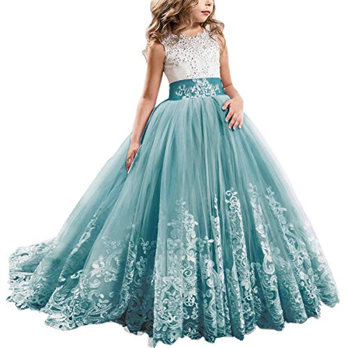 FYMNSI Flowers Girls Applique Tulle Lace Wedding Dress First Communion Birthday Christmas Prom Ball Gown Cyan 4-5T ()