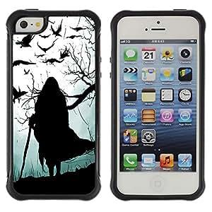 Kobe Diy Case Rugged hybrid Protection Impact Case Cover FOR iphone 5S CASE Cover ,iphone 5 5S case,iphone5S plus cover ,Cases for iphone 5 5S / Crow Witch Grey Black Halloween Old /