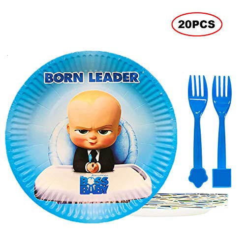 Bsstr 20 Pcs Boss Baby Party Plates Set, 10 pcs 9 Inch Cake Paper Plates and 10 pcs Baby Forks, Baby Show Kids Birthday Party Cake Decorations Supplies ()
