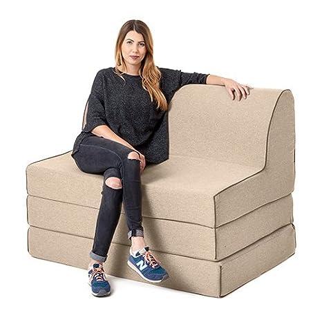 Latte lana efecto OLIVIA espuma doble fold out sofá cama Z ...