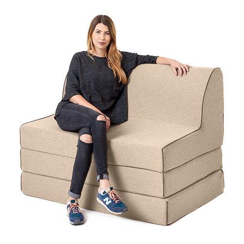 Latte Wolle Effekt Olivia Schaumstoff doppelt Ausklappen Sofa Bett Z Bett Liege