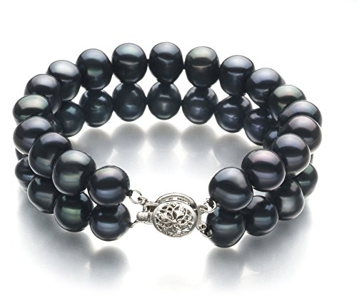 Black 8-9mm Double Strand A Quality Freshwater Cultured Pearl Bracelet For Women-7 in length