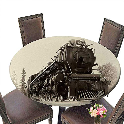 Chateau Easy-Care Cloth Tablecloth Northern type steam train engine built Works Railways is in a vintage early 20th century late 19th century for Home, Party, Wedding 43.5