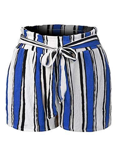 Design by Olivia Women's Multi Stripe Elastic High Waist Crinkled Paperbag Shorts Blue M