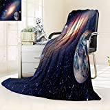 YOYI-HOME Soft Throw Duplex Printed Blanket Astrology Astronomy e h Moon Big Bang Solar System Planet Creation Anti-Static,2 Ply Thick,Hypoallergenic/59 W by 47'' H