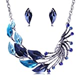 Girl Era Charming Multicolor Anthurium Art Bib Statement Collar Necklace Stud Earrings Jewelry Set