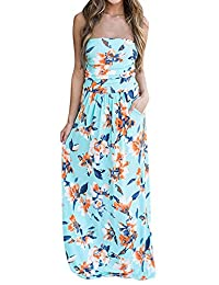 Women Strapless Maxi Vintage Floral Print Graceful Party Long Dress