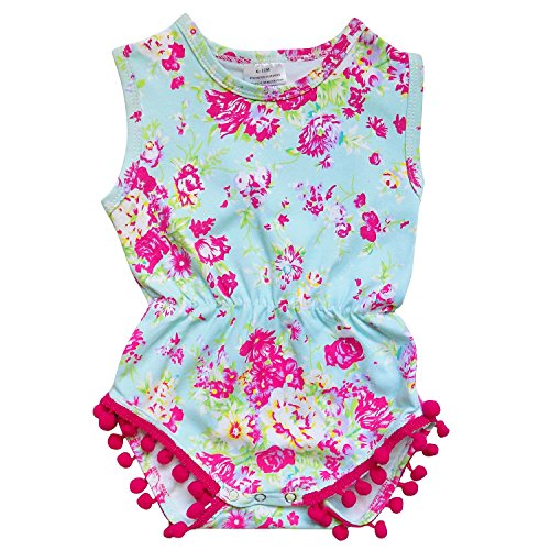 So Sydney Infant, Baby, or Toddler Girls Summer Fun Prints Pom Pom Bubble Romper (L (12-18 Months), Vintage Floral Hot Pink) -