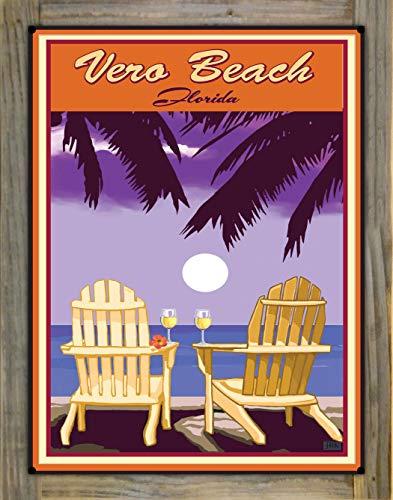 Northwest Art Mall Vero Beach Florida Adirondack Chairs Palms White Wine Metal Print on Reclaimed Barn Wood by Joanne Kollman (18