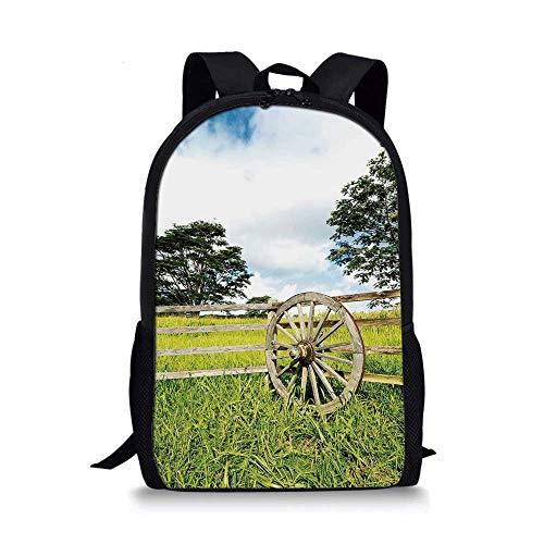 - Barn Wood Wagon Wheel Stylish School Bag,Fresh Green Meadow Ranching Fences Lush Growth Rural Landscape Trees Decorative for Boys,11''L x 5''W x 17''H