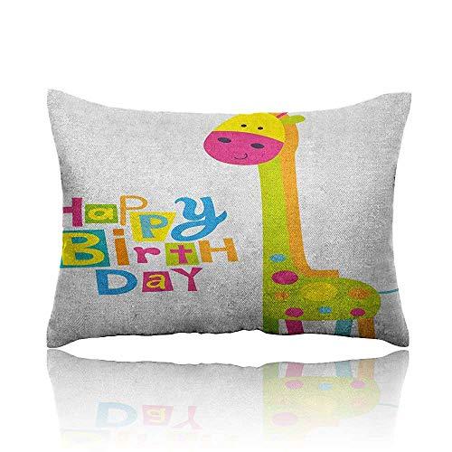 - Anyangeight Kids Birthday Mini Pillowcase Children Kindergarten Style Party Green Color Giraffe with Dots Artwork Print Fun Pillowcase 20