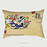 Custom Satin Pillowcase Protector Chinese Zodiac Signs Of Dragon With Chinese Calligraphy Text And The Translation Auspicious 329348195 Pillow Case Covers Decorative