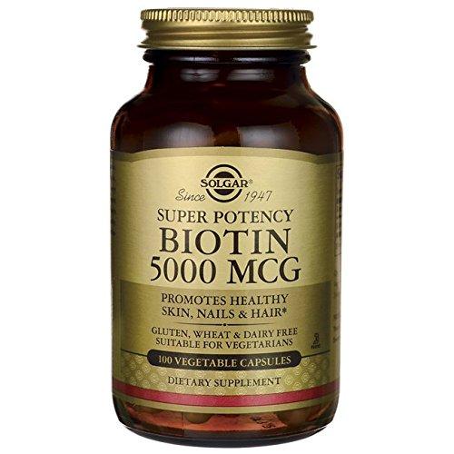 Capsules Mcg Vegetable 100 (Solgar Super Potency Biotin 5000 mcg, Non-GMO, Supports Healthy Skin, Nails & Hair, 100 Vegetable Capsules)