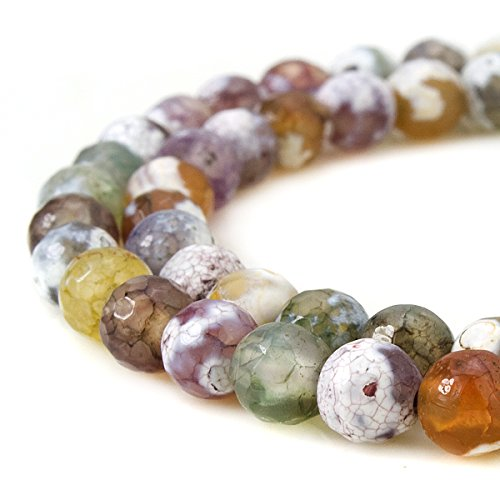 Faceted Strand - BEADNOVA 6mm Faceted Natural Purple Fire Agate Gemstone Gem Loose Beads Approx 16 inch 63~65pcs/Strand for Jewelry Making