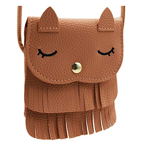 ZGMYC Kids Toddlers Cat Tassel Crossdy Bag Small Shoulder Purse Gift for Little Girls, Brown (Large)