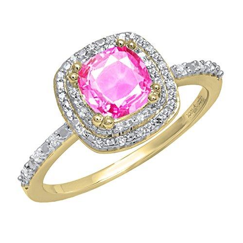 14K Yellow Gold 6 MM Cushion Lab Created Pink Sapphire & Round Diamond...