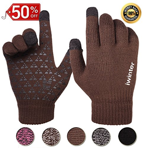 Achiou Touchscreen Texting Gloves Winter Warm for Women Men Knit Wool Lined (Coffee for Men)