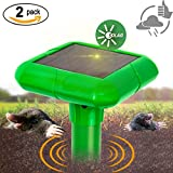 2 x Vensmile Solar Sonic Mole Repellent Gopher Repeller Repel Vole Rodent and Mice Deterrent Spike ()