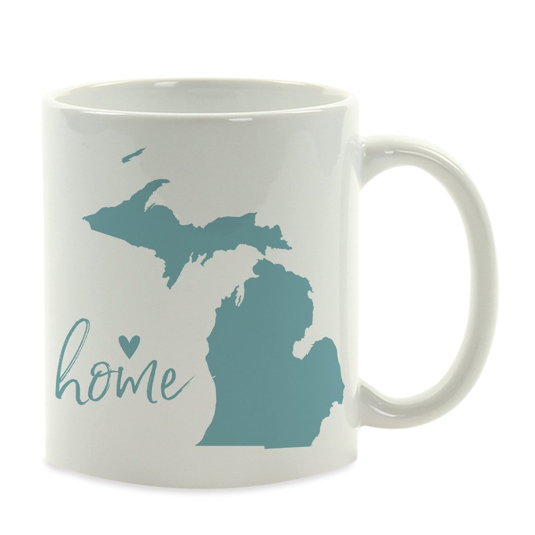 Andaz Press 11oz. US State Coffee Mug Gift, Aqua Home Heart, Michigan, 1-Pack, Unique Hostess Distance Moving Away Christmas Birthday Gifts for Her