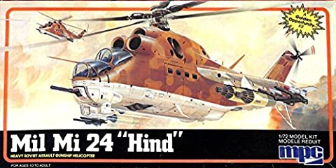 MPC 1:72 Mil Mi 24 Hind Soviet Heavy Assault Gunship Helicopter Kit #1-4409 - Mi 24 Hind Helicopter