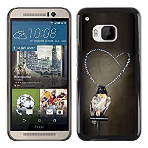 Planetar® ( Girl Love Pearls Grey Deep Depression ) HTC One M9 Fundas Cover Cubre Hard Case Cover