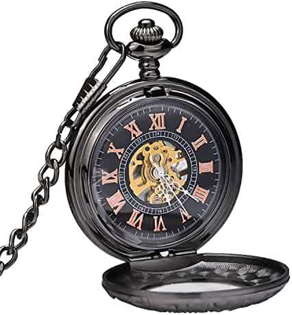 Carrie Hughes Retro Magnifier Steampunk Mechanical Skeleton Hand-wind Pocket Watch with Chain CH172