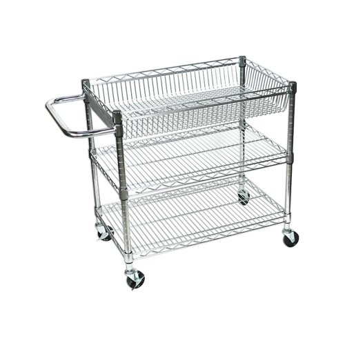 LUXOR LICWT2918 Wire Tub Heavy Duty Transport Storage Utility Cart, 3 Shelves