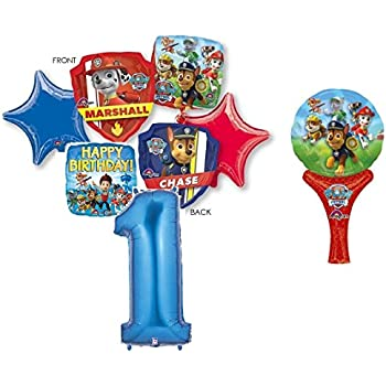 PAW PATROL 1st BIRTHDAY PARTY 7 PIECE BALLOONS BOUQUET DECORATIONS CHASE MARSHALL Including 12 Hand