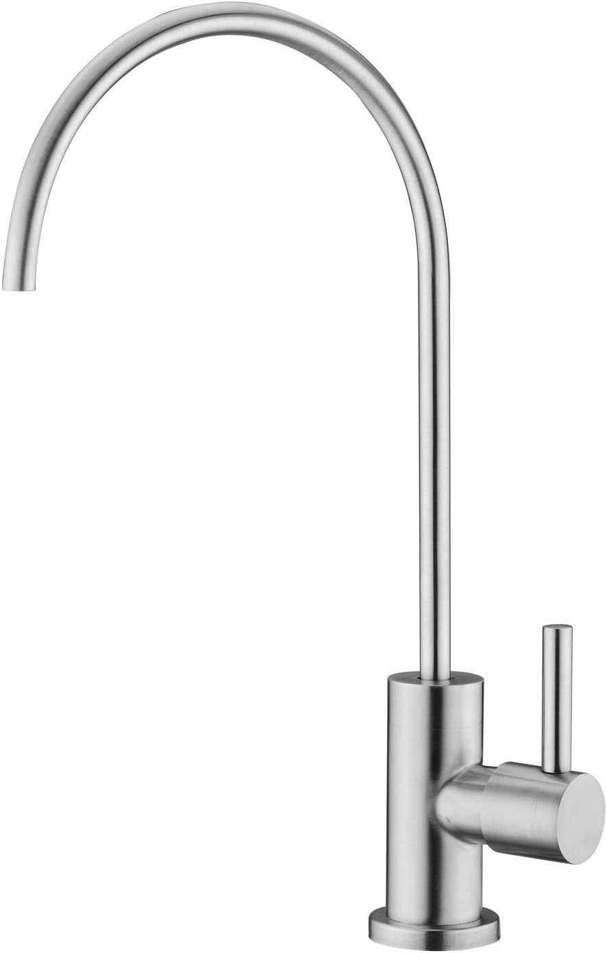 Pirooso Faucet for Water Filter, 100% Lead-Free Kitchen Faucet Drinking Water, 360° Swivel Kitchen Sink Water Filter Faucet,Fits Most Reverse Osmosis Units or Water Filtration System, Brushed Nickel