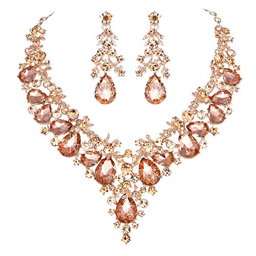 Youfir Bridal Rhinestone Simulated Pearl Necklace Earring Jewelry Set for Brides Wedding Party Dress (Peach-Rose Gold Tone)