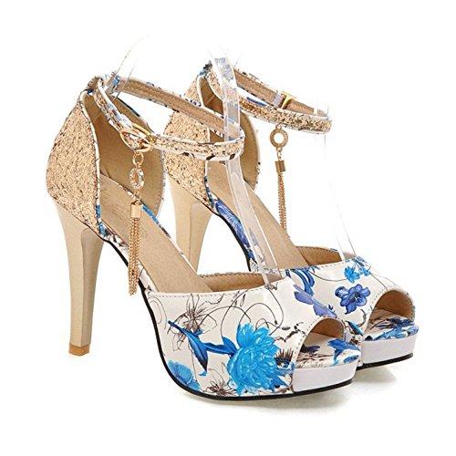 COOLCEPT Mujer Moda Correa de Tobillo Sandalias Tacon de Aguja Peep Toe Zapatos Blue