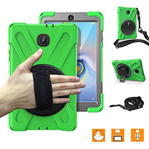 Galaxy Tab A 8.0,SM-T387 V Case,Heavy Duty Rugged Corner Protection Anti-Slip Kids Friendly Case with 360 Degree Rotating Stand,Hand/Neck Strap for Boys,Girls,Students,Teachers,Green