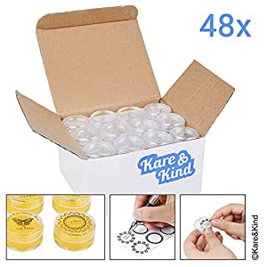Kare & Kind 48 packs DIY Natural Empty Lip Balm Container pot jars, Cosmetic Containers, with Clear Screw Cap Lids , 5 GRAM, Including lip balm stickers (48 Jars + 96 Ashesive labels , Transparent)