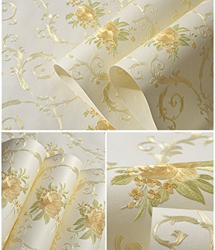 Non-Woven Temporary Self Adhesive Removable Wallpaper Luxury Embossed Floral Mural Wallpaper Stick and Peel Roll 20.83 Inches by 9.8 - Self Embossed Adhesive