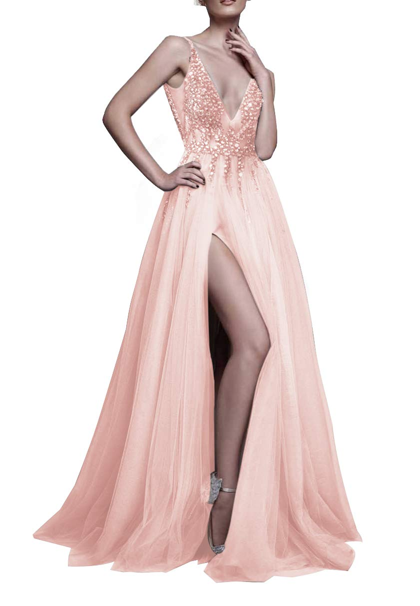 d2b198a815d37b Galleon - 2017 Sexy Gray Prom Dresses With Deep V Neck Sequins Tulle And  Lace Sex High Split Long Evening Dress Party Dresses HFY170503-Pink-US10