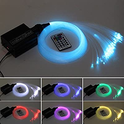 16W RGBW LED Fiber optic light Star Ceiling Kit Lights 150pcs 0.75mm 6.5ft/2m optical fiber lighting+RF 28key Remote engine