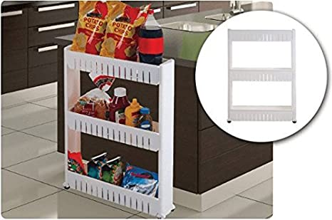 Slim Storage Cabinet Organizer Slide Out Cart Rack with Wheels for Narrow Spaces in Laundry Kitchen Bathroom Apartments Closets (3 Tier) LavoHome 1-81248
