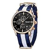MEGIR Men Watches Casual Quartz Wristwatches Blue-White Canvas Strap Black Dial relojes