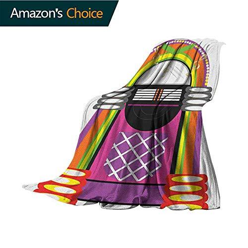 Jukebox Chunky Knit Blanket,Cartoon Vivid Ethnic Design Vintage Music Notes Radio Box Artwork Comfortable Soft Material |give You Great Sleep,50