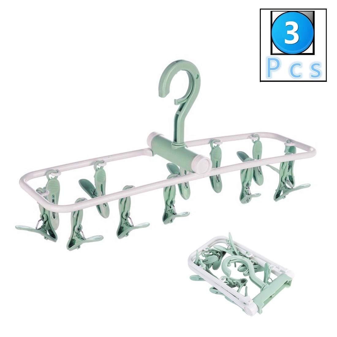 Set de 3 Perchas con 12 Pinzas para Tender la Ropa Tendedero de Calcetines,Guantes,Ropa Interior,Toallas,Beige fuluomei FLM Tendedero Colgador Plegables
