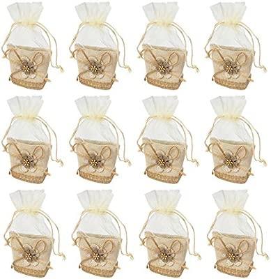 12 Piezas,Bolsa Gasa Boda,Diseño de Moderno,Ideal para Regalo,Recuerdos,Comunión Detalle,Bautizo,Boda,Cumpleaños,Fiesta,Viaje,Para Invitadas-Flore ...
