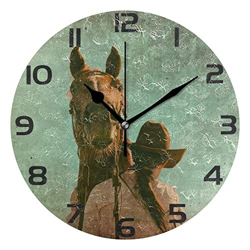 ALAZA Grunge Western Horse and Cowgirl Round Acrylic Wall Clock, Silent Non Ticking Oil Painting Home Office School Decorative Clock Art