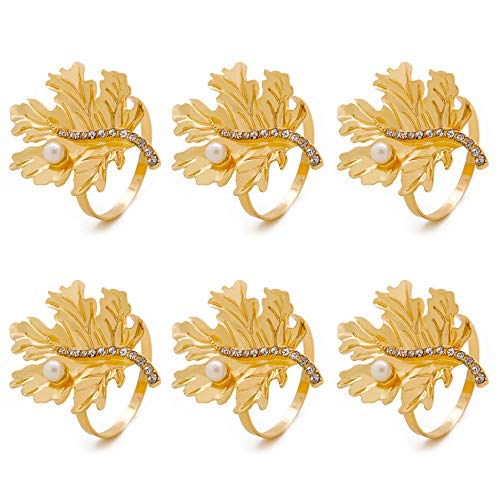 C&L Accessories Gold Leaf Napkin Rings Set of 6 for Wedding, Dinner Party ()