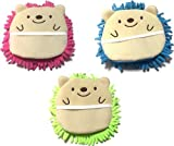 Microfiber Mitten Cute Hedgehog 6 1/2 x 6 1/2 Pink Green Blue (Set of 3)