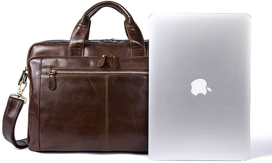 White wolf Mens Leather Man Bag Handbag Computer Bag 15 Inch Leather Briefcase on Business
